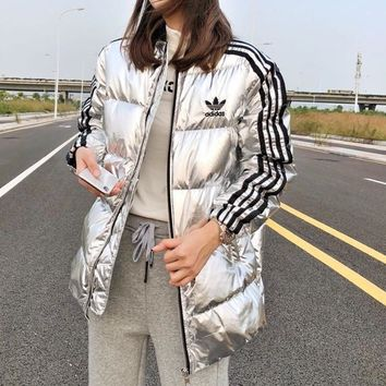 """Adidas"" Women Fashion Multicolor Stripe Long Sleeve Down Coat"
