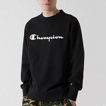 Champion Autumn And Winter New Fashion Bust Letter Print Long Sleeve Top Sweater Black