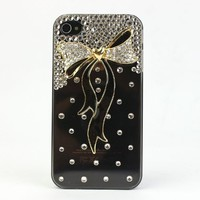 Nova Case® 3D Crystal iPhone Case for AT&T Verizon Sprint Apple iPhone 4/4S Gold and Black Bow