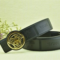 Versace Head Embossed Belt Men's Gold Buckle Coffee Leather Belt - Custom Fit