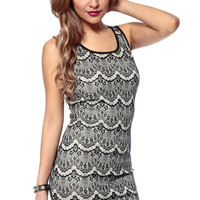 Lace Contrast Caged Dress