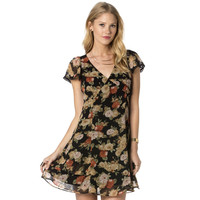 Miss Me Womens Enchanted Ways Woven Floral Print Dress