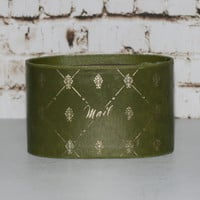 Mid Century Mail Holder Leather Gold Filigree Army Olive Green Desk Top Organizer Container Letter Storage Box Caddy 50s 60s Shabby Chic