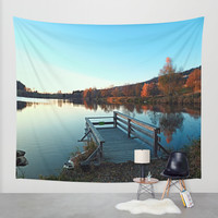 Indian summer sunset at the fishing lake II | waterscape photography Wall Tapestry by Patrick Jobst | Society6