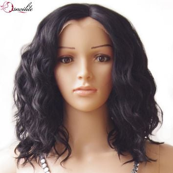 s-noilite 40cm Body Wave Bob Synthetic Hair Wig Natural Black Glueless Lace Front Wigs Heat Resistant for black human