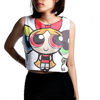 Powerpuff Girls Crop Top Tank Shirt Cropped Tops S M L