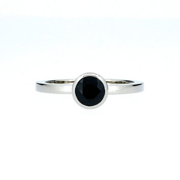 Size 7.5, Black spinel solitaire ring made from white gold, solitaire engagement ring, black, bezel, spinel wedding, simple engagement