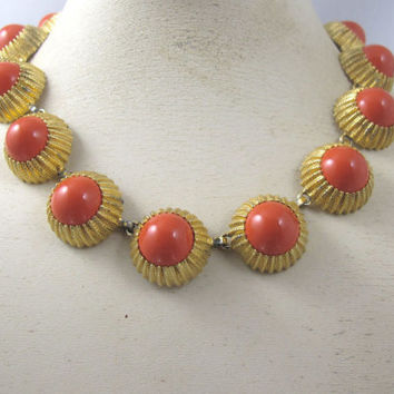 Nettie Rosenstein Necklace Earring Set, Coral Glass Cabochon Links Clip On Matching Earrings, Retro Vintage Rosenstein Jewelry