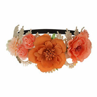 Lace and Flower Headband - Pink