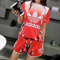 """Adidas"" Women Casual Fashion Gradient Color Letter Print Short Sleeve Shorts Set Two-Piece Sportswear"