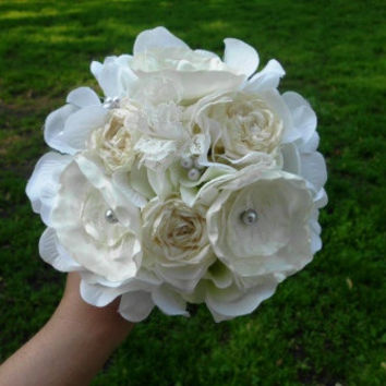 Wedding Bouquet, Ranunculus, Handmade Fabric Flower, Wedding, Bridal, Ivory, lace, Pearls, Rustic, Vintage