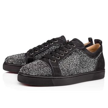 DCCKGV7 Best Online Sale Christian Louboutin Cl Louis Junior Strass Men's Flat Charbon Strass Shoes 3170175i132