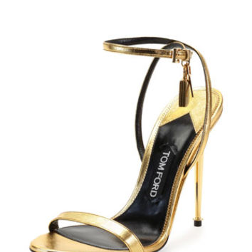 Tom Ford Metallic Ankle-Lock Sandal, Gold