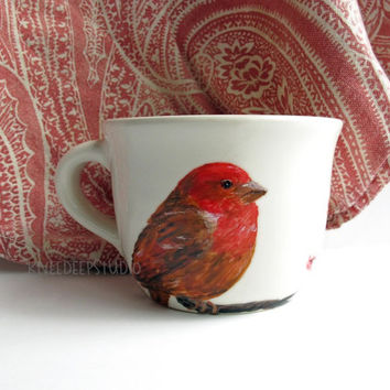 Purple Finch Handpainted Coffee Cup Unique Functional Fine Art Bird Painting on Ceramic Retro Diner Mug Gift for Her Songbird art under 50