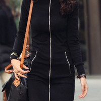Black Stand Collar Zip-Up Long Sleeve Sheath Dress