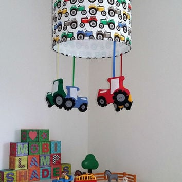 Tractor nursery lampshade - Farmyard theme room - Primary colour nursery - Bright and colourful playroom decor