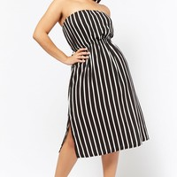 Plus Size Striped Strapless Dress