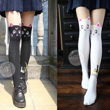 1pair/lot free shipping preppy style female sexy sailor moon tights lady spring autumn cat pantyhose black and white