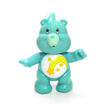 Wish Bear Poseable Vintage Care Bears Toy Teal Blue Figurine with Shooting Stars on Tummy