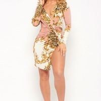 Baroque Leopard Print Twist-Front Mini Dress