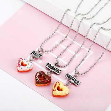 3 pcs/set Best Friends Forever BFF Love Peach Heart Pendant Necklace Women Kid Girl Beads Chain Friendship Jewelry Gift