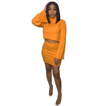 Orange Turtleneck 2 Piece Set Knitted Sweater Dress For Women Winter Long Sleeve Crop Sweaters And Mini Bodycon Dresses Vestidos