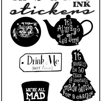Alice in Wonderland Mad Hatter Cheshire Cat Quote Stickers