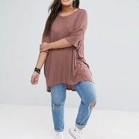 ASOS CURVE Oversized Top in Rib at asos.com
