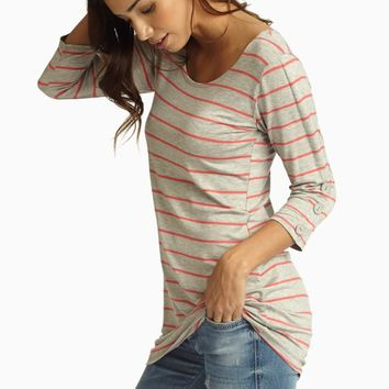 Grey Pink Striped Button Sleeve Top