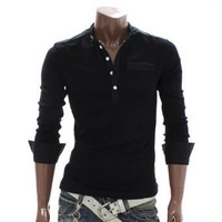 Doublju Mens Casual Button Henley Shirts BLACK Asian M (AT118)