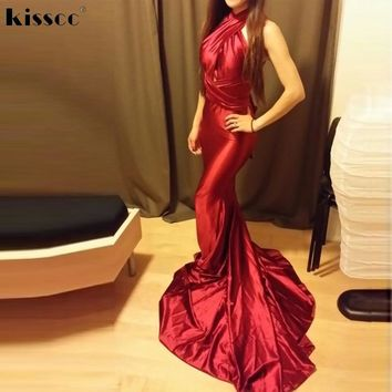 2017 Sexy Halter Red Shiny Satin Mermaid Long Party Dress Bodycon Floor Length DIY Straps Hollow Out Open Back Maxi Club Dress