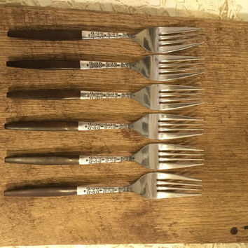 Interpur Dinner Forks, Set of Six, Vintage Forks, Wooden Handle, Stainless Steel, 1960's, Mid Century Modern, Dinner Fork Set, Japan