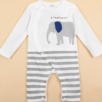 Cute Elephant Animal Baby Rompers Long Sleeves Baby Clothing Cartoon Jumpsuit Kids Newborn Baby Girls Clothes Roupas