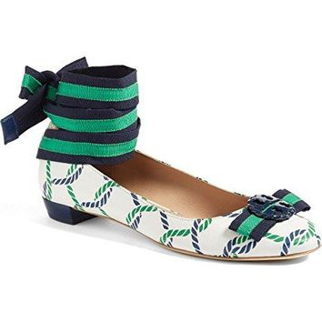 TORY BURCH ISLE ROPES / NAVY SEA MARITIME ANKLE-WRAP BALLET FLAT 6