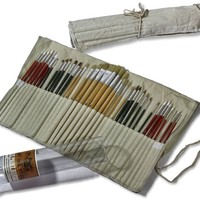 Art Owl Studio 36 Paint Brushes for Painting Acrylic, Oil, Watercolor with Art Supplies Carry Pouch