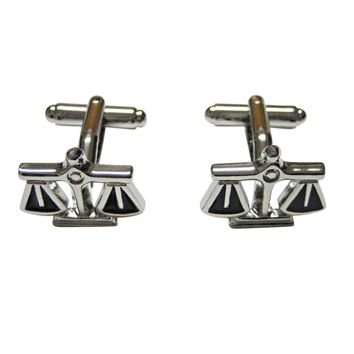 Black and Silver Toned Scale of Justice Law Cufflinks