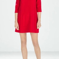 Plain Zipper-Back Sleeve Shift Dress