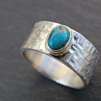 turquoise mens ring silver proposal ring, wide mens ring turquoise, rustic silver ring gemstone mens promise ring cross hammered silver ring