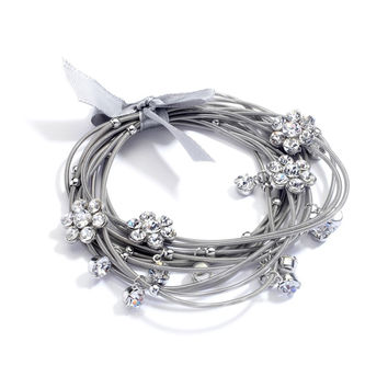Piano Wire Stretch Bracelet with Crystal Daisies and Ribbon Bow 4304B-S