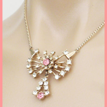 Vintage Clear and Pink Rhinestone Brooch Pendant Necklace-Vintage Costume Jewelry
