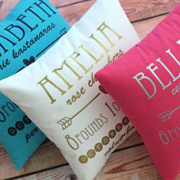 Birth Announcement Pillow - New Baby Gift - Personalized Baby Gift - Nursery Decor - Baptism Gift - Christening Gift