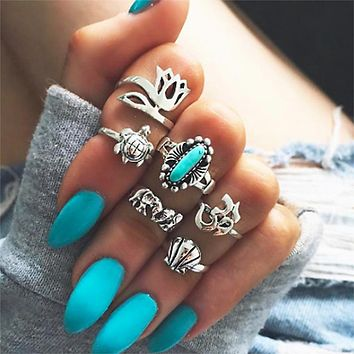 WLP Retro Style Vintage Leaf Boho Jewelry Unique Carving Tibetan Gold Color Rings for Woman 6PCS/Set Punk Opal Ring Sets