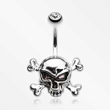 Steel Cross Bones Belly Button Ring