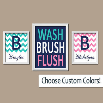 Brother Sister Bathroom Wall Art Canvas Artwork Name Monogram Initial Bath Navy Blue Pink WASH Brush Chevron Set of 3 Trio Prints