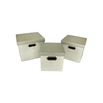 Set of 3 Urban Life Gray and White Woven Paper Nesting Storage Boxes 11""
