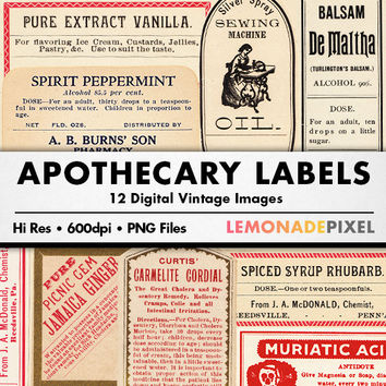 Digital Ephemera Clip Art Collage Sheet - Apothecary Labels, Scrapbook Elements, Antique Paper, Instant Download, Vintage Clipart