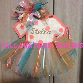 Baby Girl Hospital Door Hanger* Baby Girl Burlap Tutu Door Hanger*Baby Girl Hospital Door Hanger