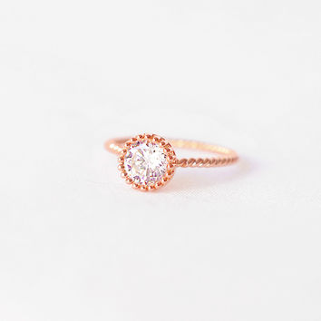 Rose Gold Twisted Band Ring