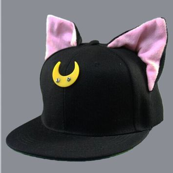 2017 new Cute Kawaii Womens Bones Snapbacks Hip Hop Cap Street Casual Baseball Caps Lovely Cat Ears Elf Female Sailor Moon Hats