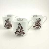 Set of 3 Alice in Wonderland Bone China Mugs  Big Hatter Rabbit Tea or Coffee Whimsical Carrol White Brown Cup